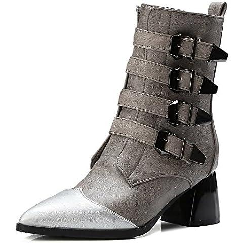 AgooLar Donna Luccichio Bassa Altezza Colore Assortito Cerniera Tacco Medio (I Migliori Donne Di Inverno Boots)