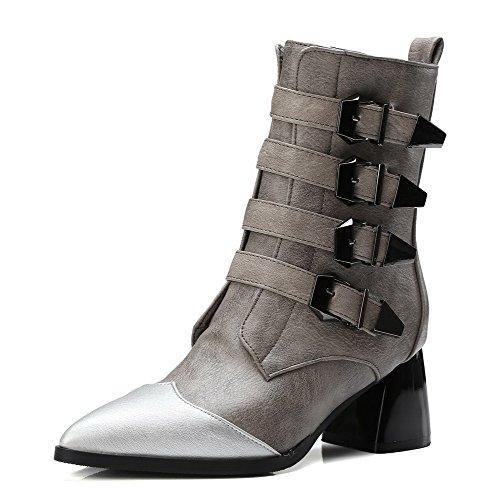 AllhqFashion Damen Gemischte Farbe Mittler Absatz Spitz Zehe Weiches Material Stiefel, Grau, 37