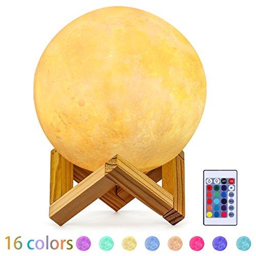 Safrey Lampe Lune, 15CM LED Moon Light avec Télécommande, Lampe de nuit RGB avec Interrupteur Tactile Gradable à Piles, USB Rechargeable