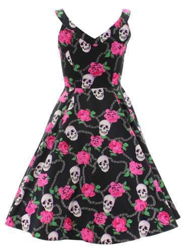 H r & london robe robe 2022 sKULLY en forme de rOSES rose Noir - Noir
