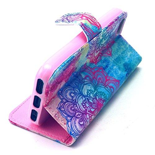Beiuns Étui en Simili cuir pour Apple iPhone 5 5G 5S Housse Coque - G148 bleu chat G145 coloré pétales