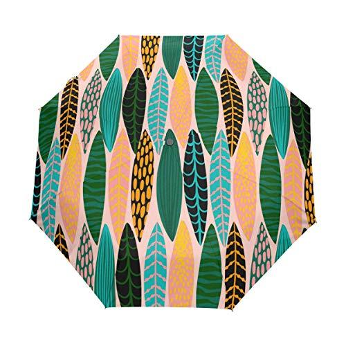 Abstract Tropical Leaves Art Canvas Fashion Print Cute Windproof Automatic tri-fold Umbrella Sun UV Protection Sun Umbrella -
