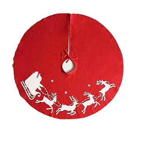 Décoration - Contour de sapin de Noël rouge avec élans blancs - 100 cm (lot de 1)