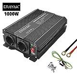 ERAYAK Inversor de Corriente 12v 220v con Puerto USB con 2 AC Tomas y Encendedor Convertidor para Automóviles 2000W/1500W/1000W/600W/300W/150W (1000W~2000W)
