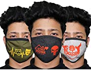 ORILEY ORCFM3 3 Ply Cotton Face Mask Washable Reusable Breathable Protective Nose Mouth Cover with Non-woven M
