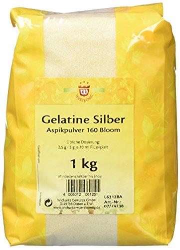 Wichartz Würzkönig Gelatine Silber Aspikpulver gemahlene Gelatine Gelatinepulver vom Schwein, 1 kg Großpackung, für Sülze & Dessert, 2er Pack (2 x 1 kg) -