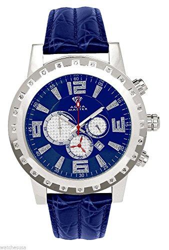 Aqua Master hombres del caso plateado diamante bisel azul cuero banda cronógrafo reloj W138