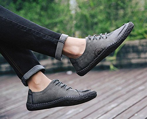 GLTER Männer Bootsschuhe Britische Männer Casual Schuhe Urban Jugend Tägliches Leben Retro Schuhe Flache Schuhe Grey
