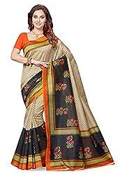 Ishin Art Silk Beige & Black Party Wear Wedding Wear casual Daily Wear Festive Wear Bollywood New Collection Printed Latest Design Trendy Womens Saree