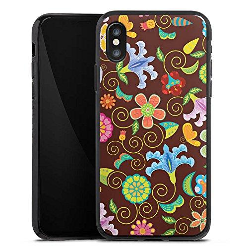 Apple iPhone X Silikon Hülle Case Schutzhülle Retro Bunt Blumen Silikon Case schwarz