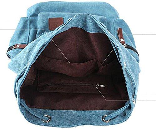 Arrowhunt Unisex Einfarbig Große Multi-Tasche Gewaschene Leinwand Reisen Rucksack Blau