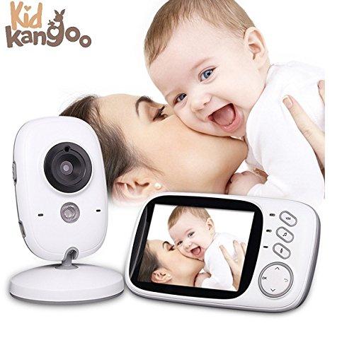 """Vigilabebés con cámara seguridad para bebé alcance 200m, pantalla LCD 3,2"""", videovigilancia bebés visión nocturna y diurna automática, vigila bebés Zoom bidireccional monitor inalámbrico."""