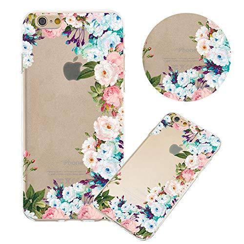Moiky Clear TPU Coque pour iPhone 6S Plus,Silicone Coque pour iPhone 6 Plus, Élégant Créativité Belle Fleur Imprimé Ultra-Mince Antichoc Doux Gel Étui Housse Coqu