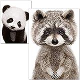 ARTpin® Poster Kinderzimmer - A4 Bilder Für Babyzimmer Ohne Rahmen - Waldtiere Panda Waschbär (P21)