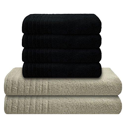 Und Graue Weiße Badetücher (Gallant 6 tlg. Handtücher Set schwarz grau 4 Handtücher 50x100 cm 2 Badetücher Duschtücher 70x140 cm grau hellgrau 100% Baumwolle 565 g/m² Duschtuch Handtuch Set schwarz anthrazit hellgrau)