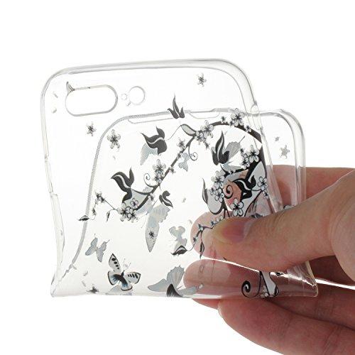 """Für iPhone 7 Plus 5.5"""" [Scratch-Resistant] Weichem Handytasche Weich Flexibel Silikon Hülle,Für iPhone 7 Plus 5.5"""" TPU Hülle Back Cover Schutzhülle Silikon Crystal Kirstall Durchschauen Clear Case,Fun Schwarz Schmetterling"""