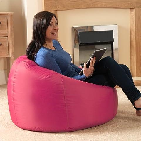Bean Bag Bazaar® Panelled XL Bean Bag Chair Indoor/Outdoor - Extra Large Bean Bags (Pink)