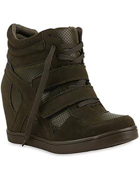 Stiefelparadies Sportliche Damen Sneakers Sneaker Wedges Glitzer Lochung Keilabsatz Schuhe Wedge Sportschuhe Flandell