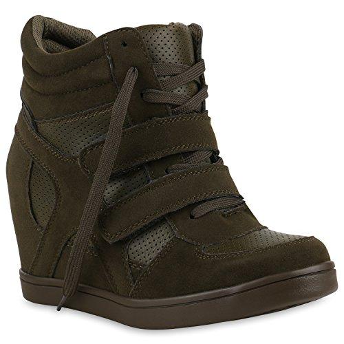 Sportliche Damen Sneakers Sneaker Wedges Glitzer Lochung Keilabsatz Wedge Sport Schuhe 124165 Dunkelgrün 37 Flandell