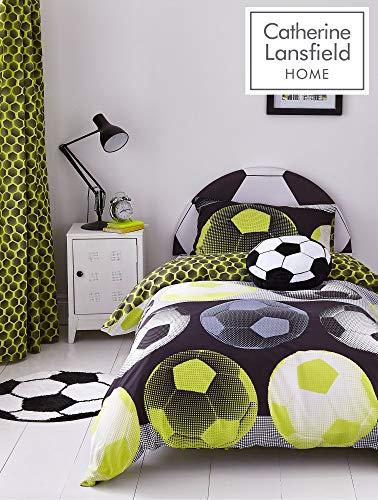 Catherine lansfield neon football ricco set copripiumino poliestere, vari colori e dimensioni, giallo, set piumone 2 piazze