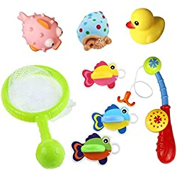 8 Piezas Set de juguetes de baño flotante con Juegos de pesca para los niños de 18 meses y hasta
