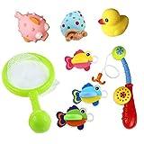 8 Pezzi Set Bagno Giocattolo Galleggiante con Giochi Rete da Pesca per i Bambini di 18 Mesi+ (Il Colore Può Variare) immagine