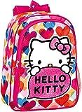 Zaino piccolo Hello Kitty per bambini, con tasca ausiliaria sul davanti, spallacci regolabili imbottiti e portabottiglie laterale a rete. Consigliato per bambini fino a 6 anni. Prodotto ufficiale Hello Kitty da Perona. Dimensioni: 29 x 37 x 1...