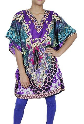 Donne portano il cotone caftano abito corto spiaggia coprire tunica stampato caftano