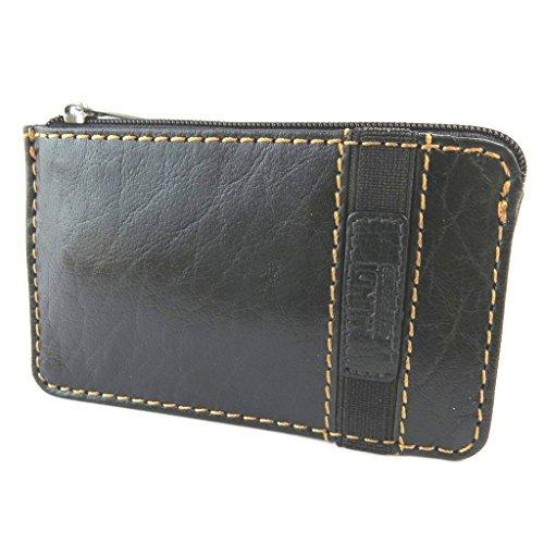 Mundi [N5814] - Leder-portemonnaie 'Mundi' schwarz vintage - 12x7.2 cm.