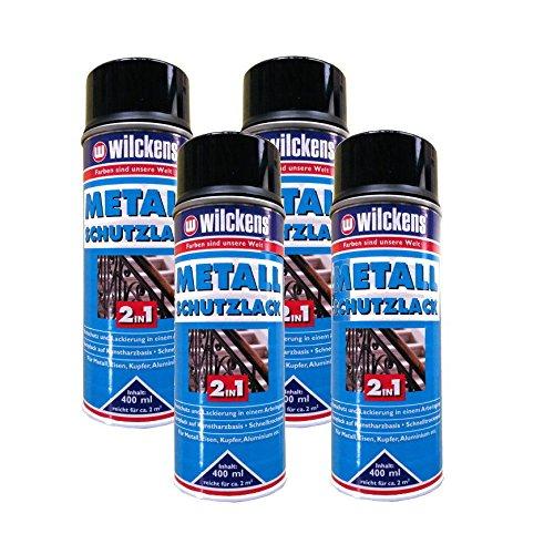 4x WILCKENS 400ml Metall Schutzlack Spray 2in1 Rostschutz schwarz