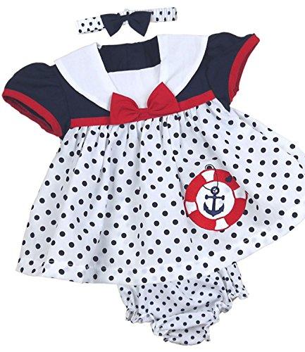 BabyPrem Babykleidung Kleidchen Kopfband & Höschen Set 62-68cm Nautisch 3-6 MONATE DUNKELBLAU (Nautische Kleid Set)