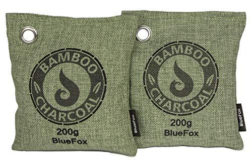 BlueFox 2er Set 200g Bambus-Aktivkohle Entfeuchter ohne Strom Bambus Sport-Tasche Filter Luftentfeuchter Kühl-Schrank gegen Schimmel Feuchtigkeit Schweiß Luftreiniger Lufterfrischer in grün - Sport-kühlschrank