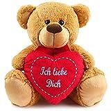 matches21 Großer Teddybär Plüschbär mit rotem Herz Ich Liebe Dich ** 40 cm ** Teddy Hellbraun