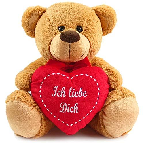 (matches21 Großer Teddybär Plüschbär mit rotem Herz Ich Liebe Dich ** 40 cm ** Teddy Hellbraun)