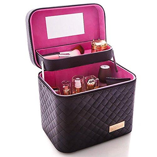 Femmes Cosmetic Box Designer Haute Qualité Portable Cosmétique Sac Grande Capacité PU Cosmétique Sac (Noir)