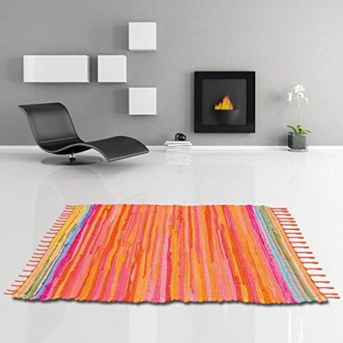 Bestlivings Flickenteppich handgewebter Teppich aus Baumwolle, Stylischer und strapazierfähiger Fleckerlteppich in Vielen Verschiedenen Modischen Ausführungen erhältlich (50 x 80cm/Orange - Coral) (Rag Rug)