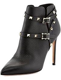 Cuero puntiagudos botón del Metal del remache mano botines de las mujeres negro leopardo rojo , 35