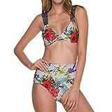 Dasongff Frauen Böhmische Neckholder Strand Bikini Set Bedruckte Hohe Taille Badeanzug Bademode Beachwear Badeanzug Tanktops+Slip (XL, Multicolor)