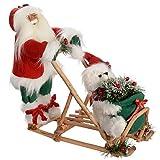 WeRChristmas 42 cm, Weihnachtsmann mit Schlitten, Weihnachtsdekoration, Das Sich Bei Hitze Ausdehnt Und Einen