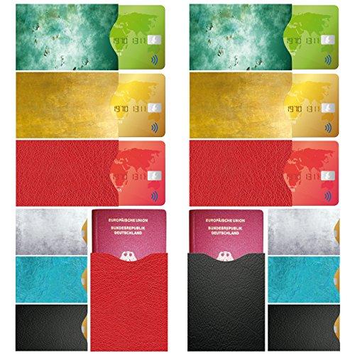 FreeHaveFun RFID Blocker NFC Schutzhülle | 14er Set + GRATIS Ebook | 100% NFC Schutz vor Auslesung | 12 x RFID Schutz-Hülle für Kreditkarte, Personalausweis + 2 x Reisepass NFC Blocker im Leder-Look (- Brown-leder-id-halter)