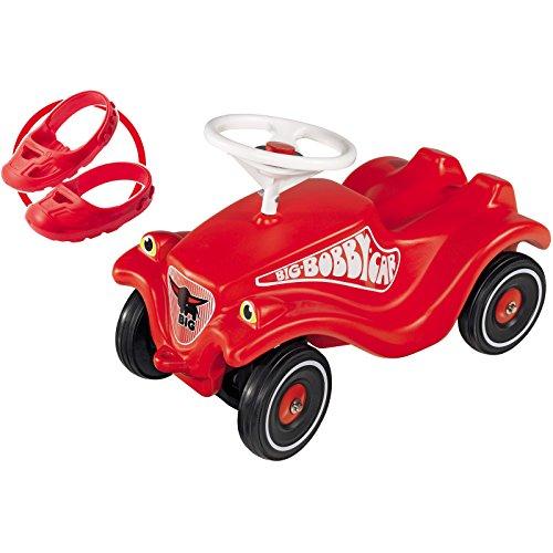 Set Bobby Car mit Flüsterreifen und Schuhschoner in Rot • Baby Rutscher Rutschauto Flüsterräder