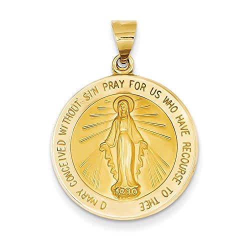 14K Gelb Gold Wundertätige Medaille Anhänger REL136 (Wundertätige Medaille 14k Gold)
