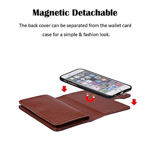 """xhorizon MLK [upgrade] 2-en-1 design Support de voiture remarquable pour téléphone portable à deux volets Folio Portefeuille en cuir pour iPhone 7 Plus [5.5""""] (rouge) café +9H Glass Tempered Film"""