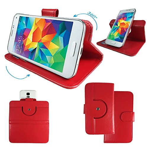 ZTE Open C / Blade G Smartphone Tasche / Schutzhülle mit 360° Dreh und Standfunktion - 360 Rot Nano S