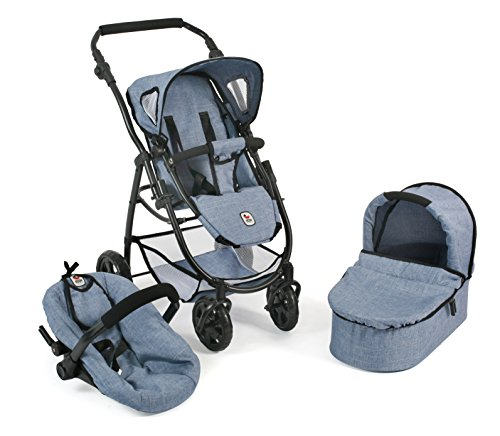 Bayer Chic 2000 637 50 - Puppenwagen 3-in-1 Emotion All in, Jeans Blau