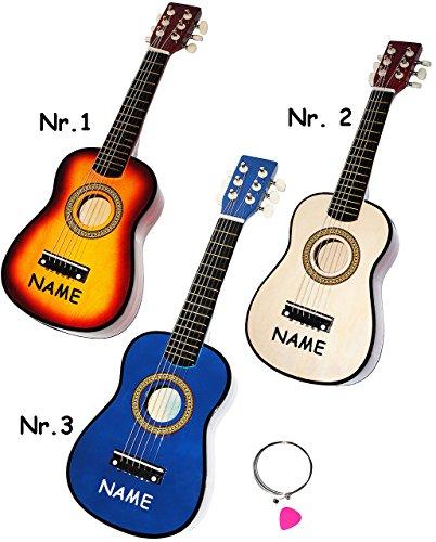 hochwertige Kinder _ Holz Gitarre - ' Konzertgitarre - Klassik - BLAU ' - incl. Name - akustische - Kindergitarre - mit 6 Stück Ersatzsaiten & Plektrum - 6 Saiten / Seiten - Spielzeuggitarre - Mädchen & Jungen - Konzertgitarren - Musikinstrument - Akustikgitarre - Saiteninstrument / Mädchen & Jungen - Spielzeug - akustisch