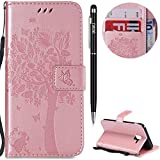 Case for Samsung Galaxy J6 2018 EU-version Case,Samsung Galaxy J6 2018 EU-version Case WIWJ [Wallet Case] Magnetic Flip Book Style Cover Case ,High Quality Classic New design Tree and Cat Pattern Design Premium PU Leather Folding Wallet Case With [Lanyard Strap] and [Credit Card Slots] Stand Function Folio Protective Holder Perfect Fit For Samsung Galaxy J6 2018 EU-version Case - Rose Gold+1* Stylus Pen