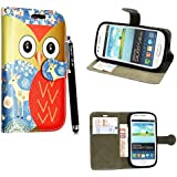 STYLEYOURMOBILE {TM} SAMSUNG GALAXY S3 III MINI i8190 VARIOUS DESIGN CARD POCKET HOLDER PU LEATHER MAGNETIC FLIP CASE COVER POUCH + FREE STYLUS (Owl Face Deer Book)