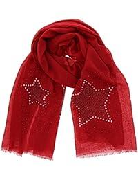 54b190e74370 FASHIONGEN - Echarpe femme douce imitation coton, strass et étoile, ...