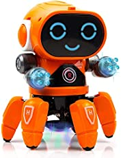 Toyshine Bot Robot Pioneer | Colorful Lights and Music | All Direction Movement | Dancing Robot Toys for Boys and Girls | Orange
